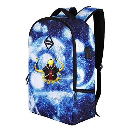 Assassination Classroom Mochila de Gran Capacidad Mochila for niños Personalidad Mochila Escolar Casual Starry Sky Travel Bag para Mujeres y Hombres (Color : A28, Size : 31 x 15 x 48cm)