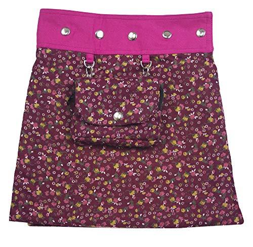 Sunsa Mädchen Rock Minirock Wende Wickelrock Sommerrock kurz, Baumwolle Mädchenrock Skirt, 2 Kinder Röcke in einem, mit Abnehmbarer Tasche, Größe verstellbar Coole Sachen/Geschenke 15721