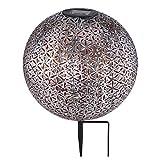 LED Außen SOLAR Steck Leuchte Kugel Terrassen Strahler silber-grau Garten Deko Lampe Erdspieß