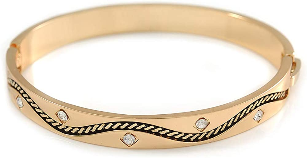 Gold Plated Oval Bangle Bracelet with Clear Crystal Accent - 18cm L