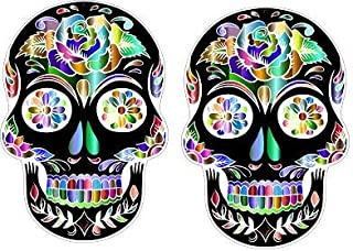 Premium Quality Sugar Skull Sticker - New #3 Calavera - Rear Bumper Sticker Vinyl Decal - Size 4
