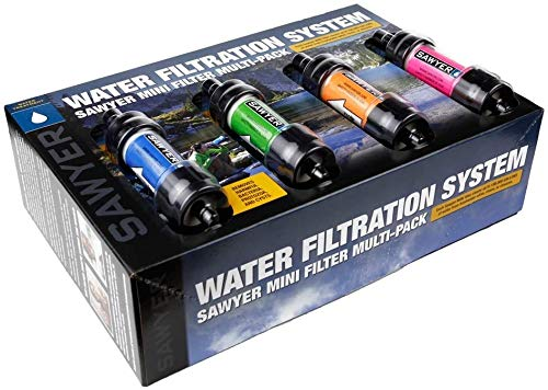 Sawyer Products SP124 MINI Water Filtration System, Gift 4-Pack, Multi-Color