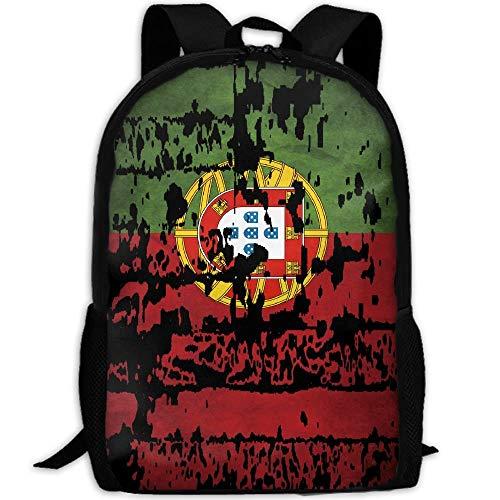 Unisexo Mochila,Mochila Escolar con Bandera De Portugal, Mochilas Suaves para Acampar En La Escuela,43x28x16cm