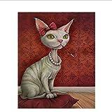 Hyllbb Cuadro Gato Diy Pintura Por Números Animales Pintura Acrílica Sobre Lienzo Dibujo Por Números...