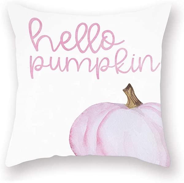 Smilyard Hello Pumpkin Pillows Decorative Pillow Case Super Soft Autumn Thanksgiving Decor Pink Pumpkin Pillow Covers 18x18 Inch Square Welcome Fall Cushion Cover For Home Sofa Bedroom Pink Pumpkin