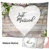 D&D Living Hochzeitslaken – Hochzeitsherz zum Ausschneiden, als Hochzeitsspiel fürs Brautpaar beim Standesamt, Großes Motiv (240x180 cm, Blütenholz)