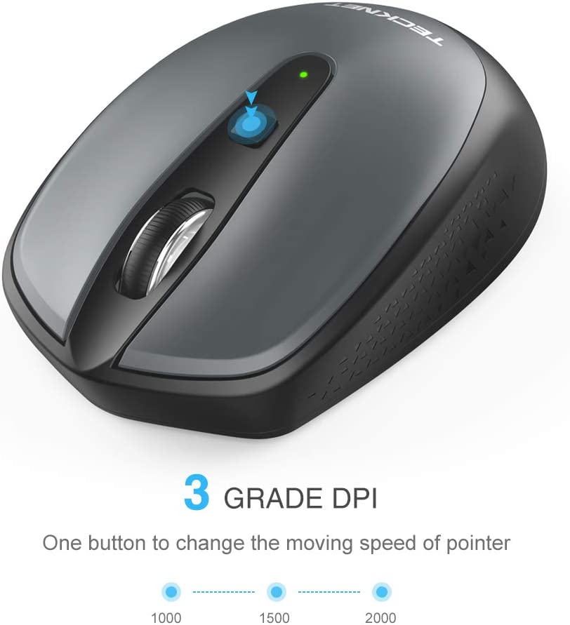TECKNET Omni Small Portable 2.4G Wireless Optical Mouse with USB Nano Receiver for Laptop Computer, 18 Month Battery Life, 3 Adjustable DPI Levels: 2000/1500/1000 DPI