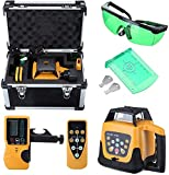 Iglobalbuy 500M Green Beam 360°Automatic Electronic Self-leveling Rotary Rotating Laser Level Tool Kit with Remote Control Case