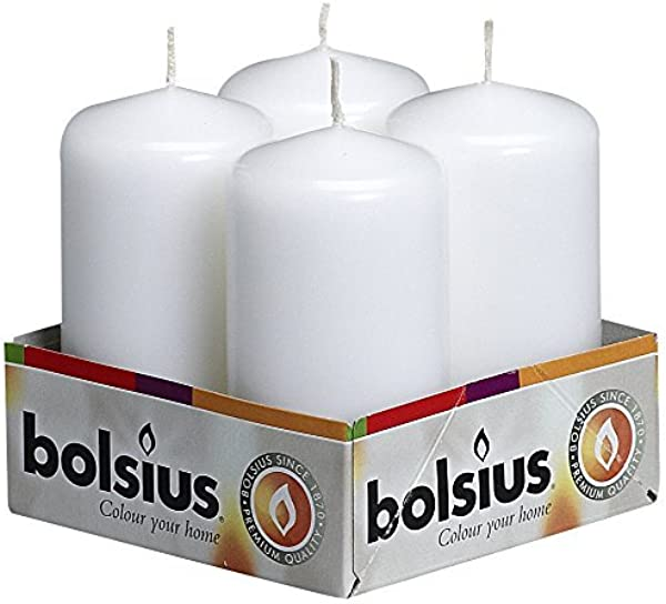 BOLSIUS Tray Of 4 White Pillar Candles 20 Long Burning Hours Candle Set 2 Inch X 4 Inch Dripless Candle Perfect For Wedding Candles Parties And Special Occasions