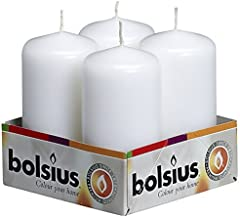 BOLSIUS Tray of 4 White Pillar Candles - 20 Long Burning Hours Candle Set - 2-inch x 4-inch Dripless Candle - Perfect for Wedding Candles, Parties and Special Occasions