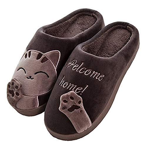 Invierno Cálido Zapatillas de Estar por Casa Interior para Hombre Hombre patrón Gatos 40/41 EU (Tamaño de Etiqueta 42/43) Gato-Coffee