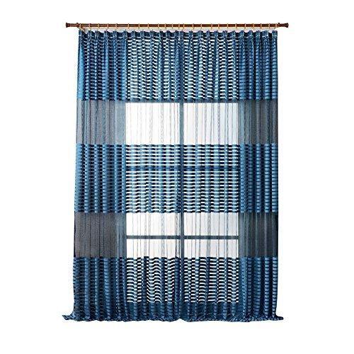 Kalaokei Mode rafraîchissement à Rayures Rideau de fenêtre Sheer Panneau de séparation Home Décor de Chambre à Coucher, Bleu, Taille Unique