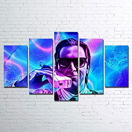 IKLOP 5 Paneles Cuadros En Lienzo Imágenes Decorativas 5 Impresiones en Lienzo 5 Piezas Lienzos Wall Cuadros Psicosis Retro Canvas Pictures Poster Home Wall Decor Artwork Mural Foto