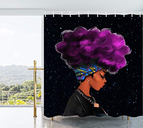 AO BLARE Purple Hair Lady Afro Women Shower Curtain Black Starry Background Afracan Women Curtain Bathroom Waterproof Polyester Fabric with Hooks 72X72Inch