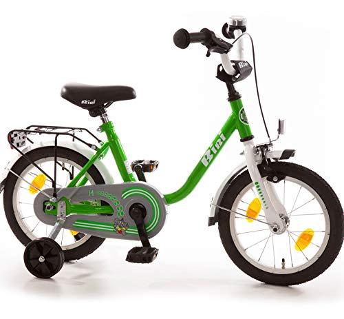 Bibi Kinderfahrrad 14 Zoll mit Rücktrittbremse und Stützrädern Fahrrad für Kinder Junge Mädchen Kinderrad grün
