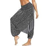 Nuofengkudu Damen Pumphose Aladin Thai Haremshose Hippie Bunt Muster Baggy Leichte Indische Yoga Hosen Hip Hop Sommer Strandhose(W Schwarz C,Einheitsgröße)