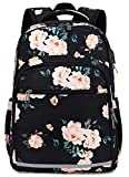 BLUBOON Backpack for Women 15 Inch Laptop Bookbag College School Backpack Girls Floral Schoolbag Compartment Daypack for Business Travel with USB Charging Port and Headphone Interface