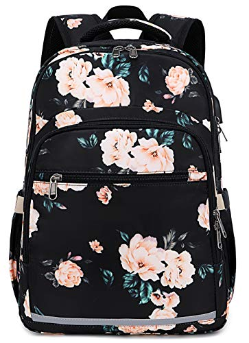 BLUBOON Backpack for Women 15.6 Inch Laptop Bookbag College School Backpack Girls Floral Schoolbag Compartment Daypack for Business Travel with USB Charging Port and Headphone Interface