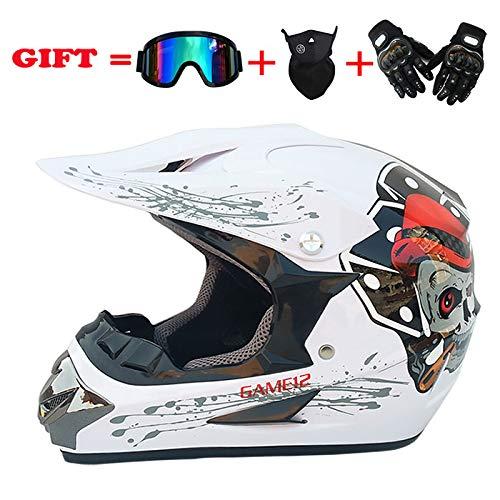 CSJD motorhelm voor volwassenen, Off-Road Scooter ATV helm, mountainbike, helm voor volledig gezicht, met bril/windmasker/handschoenen (S-XL)