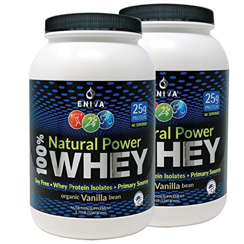 ENIVA Natural Power 100% Whey Protein Powder, Organic Vanilla, Clean Protein for Everyone & Keto, High Protein, Low Carb, Gluten Free Non GMO Soy Free, Whey (WPI) Isolate Primary, USA Made, 5.5 lbs