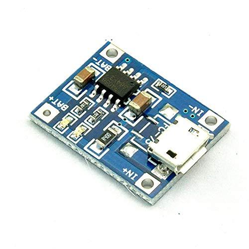 FairytaleMM 5V 1A TP4056 Módulo de Cargador de batería de Litio Placa de Carga con protección Funciones Dobles 1A Li-Ion TC4056-azul y Plata