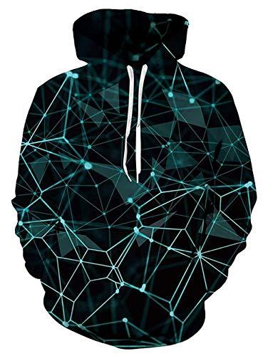 uideazone Herren Geometrisch Pullover Hoodie Hemden Langarm Tunnelzug 3D Sweatshirts Blau,L-XL,Geometrisch 2