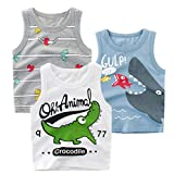 HILEELANG Toddler Boys' Tank Tops 3-Pack Vest Summer Sleeveless Cotton Casual Active White Blue Crocodile T-Shirts 4T