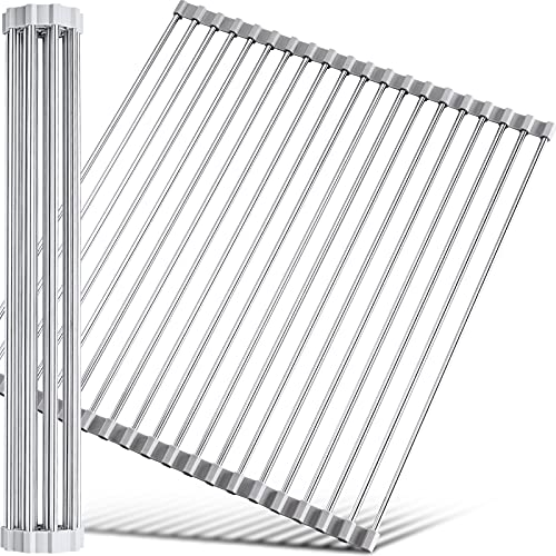 """17.7"""" x 15.5"""" Large Dish Drying Rack, Attom Tech Home Roll Up Dish Racks Multipurpose Foldable Stainless Steel Over Sink Kitchen Drainer Rack for Cups Fruits Vegetables"""