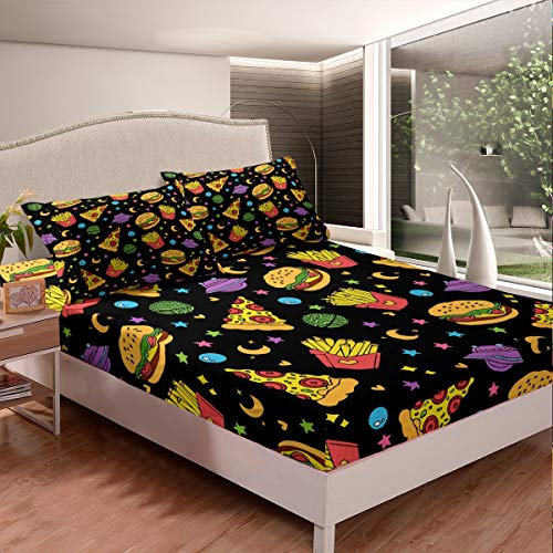 Tbrand Kids Bed Sheet Set Cute Cartoon Galaxy Stars Bedding Set For Boys Girls Children Hamburger Pizza Chip Food Theme Fitted Sheet Outer Space UFO Decor Bed Cover King Size