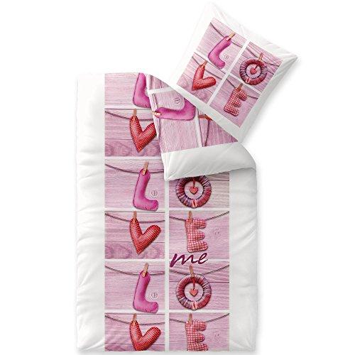 CelinaTex Touchme Biber Bettwäsche 135 x 200 cm 2teilig Baumwolle Bettbezug Loana Love Herz Wörter weiß pink rosa