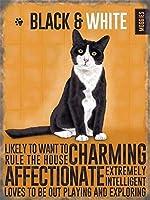 黒と白の猫子猫 メタルポスタレトロなポスタ安全標識壁パネル ティンサイン注意看板壁掛けプレート警告サイン絵図ショップ食料品ショッピングモールパーキングバークラブカフェレストラントイレ公共の場ギフト