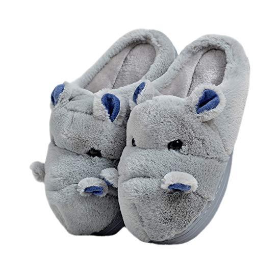 LANFIRE Zapatillas de algodón para niños y Adultos Zapatillas de casa Hippo Zapatillas de Felpa Zapatillas de Animales (39-40 EU, Grey)