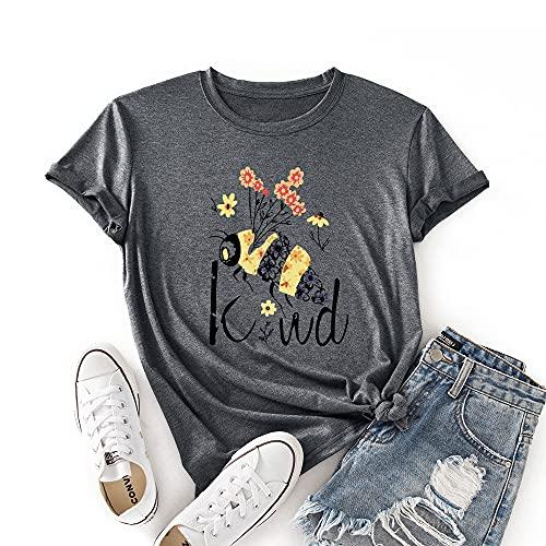 JTJFIT Women Flower Bee Kind T-Shirt Graphic Shirt Tees Short-Sleeved Girls T-Shirt Top, Dark Gray, Small