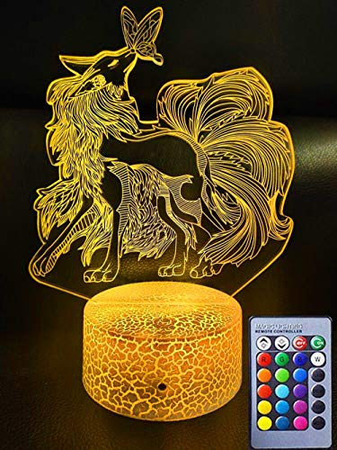 Nine-Tails Fox 3D Optical Illusion Lamp for Kids,Fox Gift Toy with Remote & Smart Touch 7 Colors + 16 Colors Changing Fox Bedside Lamp for 3 4 5 6 7 8 9 Year Old Girl Gifts on Birthday or Holiday