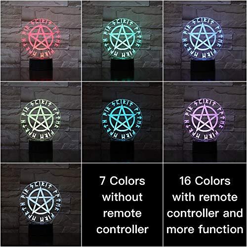 Kinder LedNachtlampeMagic Runes Nachtlicht für Kinder Schlafzimmer Schlaf Licht GeschenkBeste USB 3d Led Nachtlicht Pentagramm