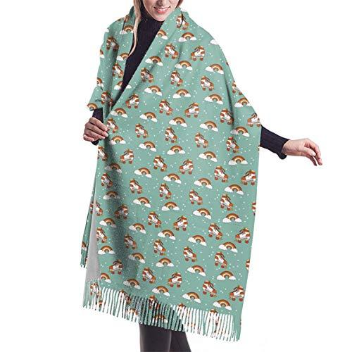 Rollschuhe/Schal für Damen, Retro, Regenbogenfarben, groß, warm, Kaschmir, Pashmina-Schal Gr. Einheitsgröße, Schwarz