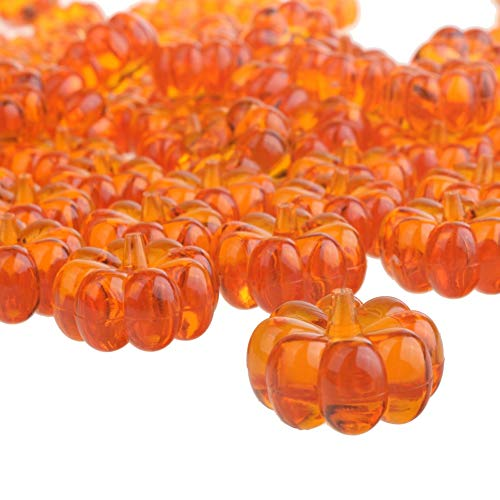 PMLAND Mini Acrylic Pumpkin Ornaments for Fall Decorations Party Table Scatter Halloween and Thanksgiving Décor, 1 Pound Package, Approx. 105 pcs