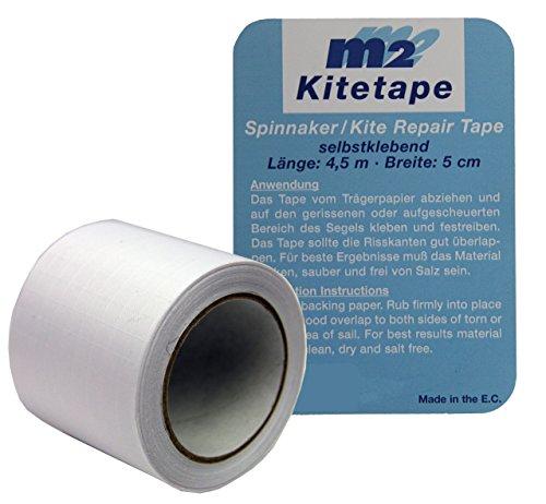 M2 Kitetape - selbstklebendes Spinnaker Reparatur Tape für dünnes Spinnaker Segel Textilien Flicken Band - Nylon 5cm x 4,5 Meter - weiß White