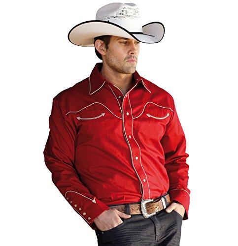 Rodeo Ready Stars & Stripes Herren Westernhemd Jack Red - Westernwear-Shop Edition mit Kragenecken und Samtbeutel Herren Westernkleidung Westernbekleidung Westernhemd Westernshirt (XX-Large) Rot