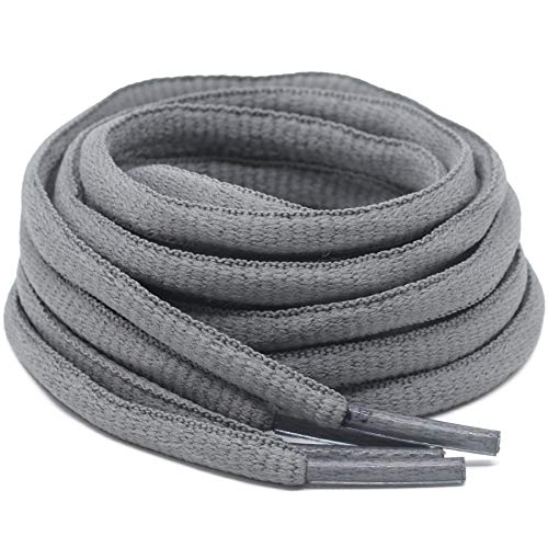 DELELE 2Pair Oval Shoes laces 42 Colors Half Round 1/4'Athletic ShoeLaces for Sport/Running Shoes Shoe Strings Dark Grey -45.28'