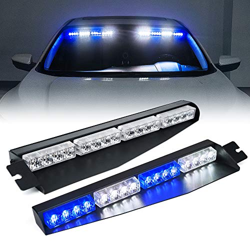 [Upgrade] Xprite LED Visor Strobe Light Bar Interior Windshield Sunvisor Emergency Hazard Warning Flashing Lights w/Extend Bracket Split Mount for Police Vehicles Trucks Volunteer - White Blue