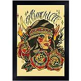 America by Johnny Gargan Native American Indian Tattoo Hookah Framed Art Print