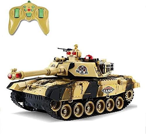 Moerc Tanque RC, juguetes de control remoto, Control remoto Vehículo militar Lucha contra combate con torreta giratoria de sonido y acción de retroceso cuando los brotes de artillería de cañones, para
