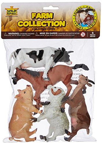 Wild Republic Farm Polybag  Pig  Horse  Cow  Sheep  Goat  5 Piece Collection Multi