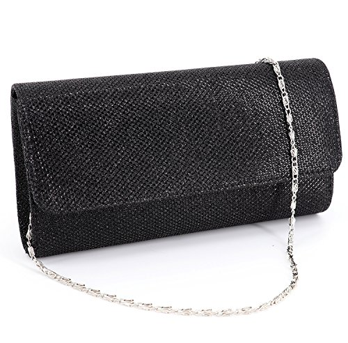 Naimo Flap Dazzling Small Clutch Bag Evening Bag With Detachable Chain (Black)