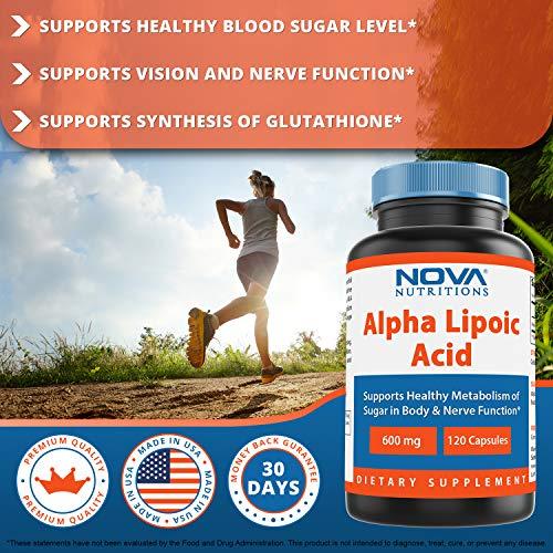 Nova Nutritions Alpha Lipoic Acid ALA 600 mg (Non-GMO) for Healthy Blood Sugar Support & Antioxidant Support, 120 Capsules