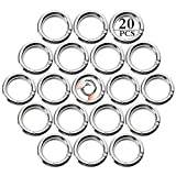 20 Stück Runde Karabiner,Karabiner Ring,Karabinerhaken aus Zinklegierung Snap Ring Sprung Ringe (Silber)