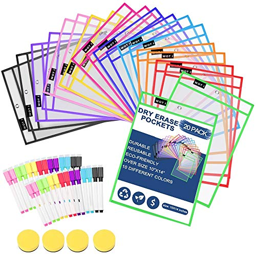 Dry Erase Pockets 20 Set Dry Erase Sleeves Oversized 10 x 14 Inches Teacher-Supplies- for-Classroom-Reusable-Dry-Erase-Pockets-Sleeves Assorted Colors WOT I