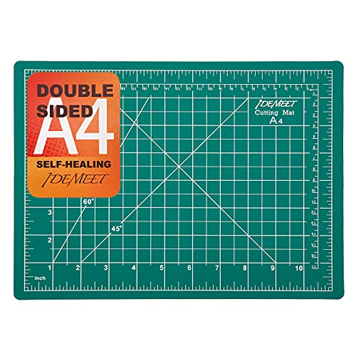"""12"""" x 9"""" Self-Healing Cutting Mat for Craft, Idemeet Cutting Board with Grid, Non-Slip Cut Mat Board for Vinyl, Double-Sided Rotary Cut Board for Sewing, Quilting, Hobby, A4"""