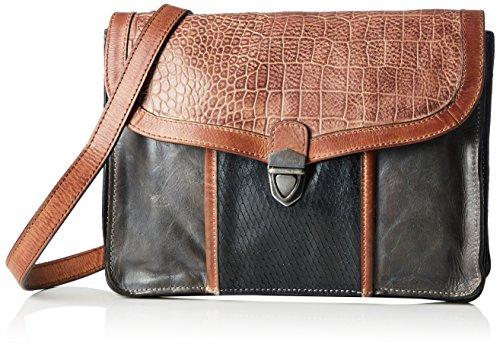 Taschendieb TD0754 Damen Umhängetaschen 26x20x3 cm (B x H x T), Mehrfarbig (stone/grau)